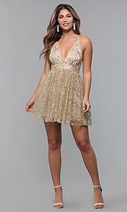 Image of short glitter-mesh v-neck holiday party dress. Style: LUX-LD5202 Detail Image 3