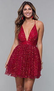 Image of short glitter-mesh v-neck holiday party dress. Style: LUX-LD5202 Detail Image 4