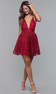 Image of short glitter-mesh v-neck holiday party dress. Style: LUX-LD5202 Detail Image 7