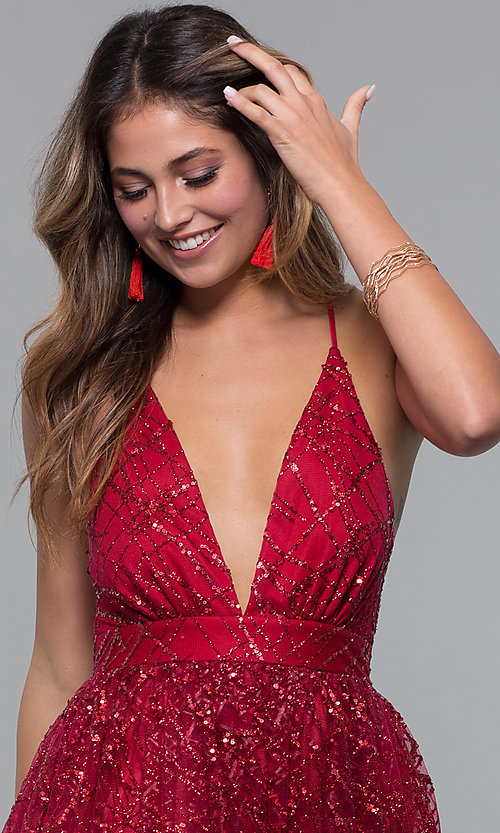 Image of short glitter-mesh v-neck holiday party dress. Style: LUX-LD5202 Detail Image 6