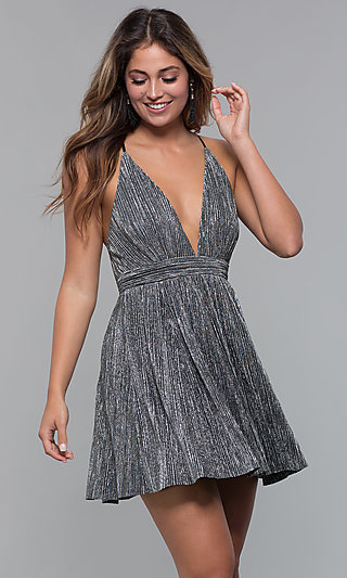 Short Black and Silver V-Neck Holiday Party Dress