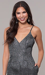 Image of short metallic glitter-knit holiday party dress. Style: LUX-LD5223 Detail Image 1
