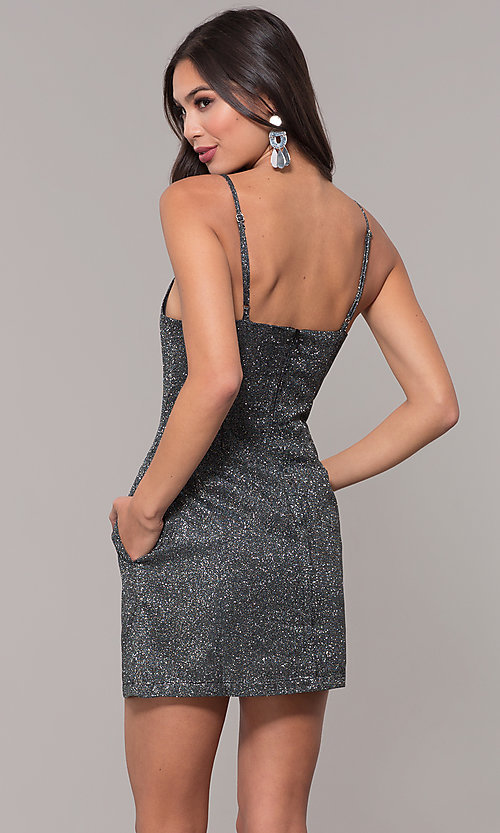 Image of short metallic glitter-knit holiday party dress. Style: LUX-LD5223 Back Image