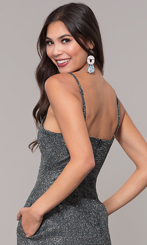 Image of short metallic glitter-knit holiday party dress. Style: LUX-LD5223 Detail Image 2