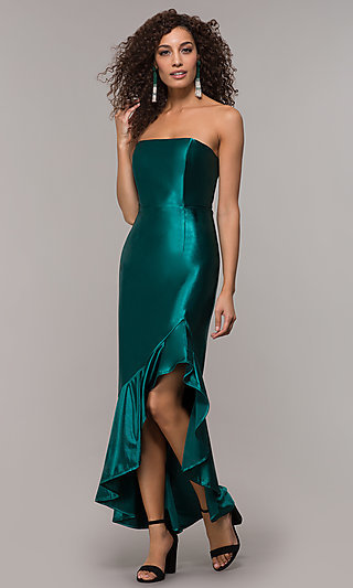 Strapless High-Low Formal Party Dress