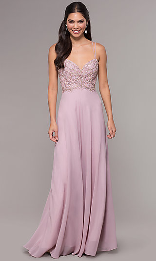 Long Embroidered Mesh Sweetheart Prom Dress