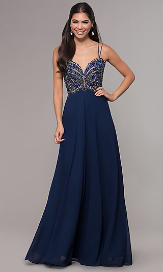 Long Sweetheart Chiffon Prom Dress with Embroidery