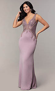 Image of long sleeveless v-neck embellished-bodice prom dress. Style: SOI-W18129 Front Image