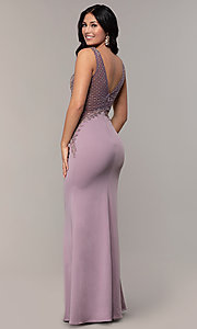 Image of long sleeveless v-neck embellished-bodice prom dress. Style: SOI-W18129 Back Image