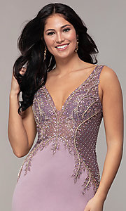Image of long sleeveless v-neck embellished-bodice prom dress. Style: SOI-W18129 Detail Image 6