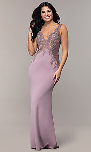 Image of long sleeveless v-neck embellished-bodice prom dress. Style: SOI-W18129 Detail Image 3