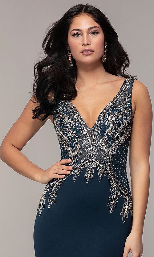 Image of long sleeveless v-neck embellished-bodice prom dress. Style: SOI-W18129 Detail Image 1