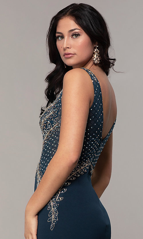Image of long sleeveless v-neck embellished-bodice prom dress. Style: SOI-W18129 Detail Image 2