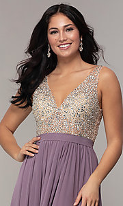 Image of embellished v-neck long chiffon prom dress. Style: SOI-M17934 Detail Image 4