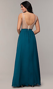 Image of embellished v-neck long chiffon prom dress. Style: SOI-M17934 Back Image