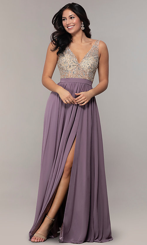 Image of embellished v-neck long chiffon prom dress. Style: SOI-M17934 Detail Image 2