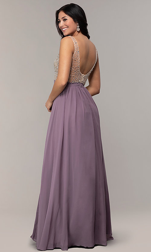 Image of embellished v-neck long chiffon prom dress. Style: SOI-M17934 Detail Image 3