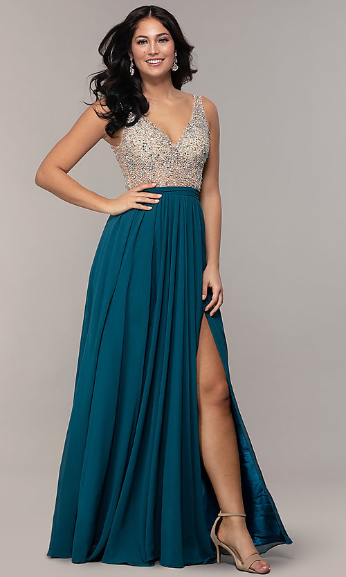 c5bddfb3c3872 Image of embellished v-neck long chiffon prom dress. Style: SOI-M17934