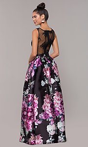 Image of long satin floral-print sheer-back prom dress. Style: SOI-M18167 Back Image