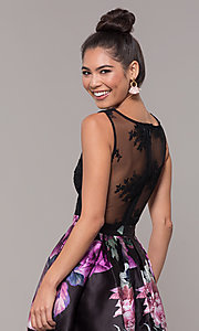 Image of long satin floral-print sheer-back prom dress. Style: SOI-M18167 Detail Image 2