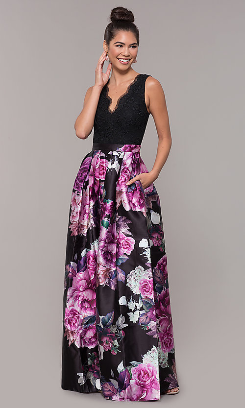 Image of long satin floral-print sheer-back prom dress. Style: SOI-M18167 Front Image