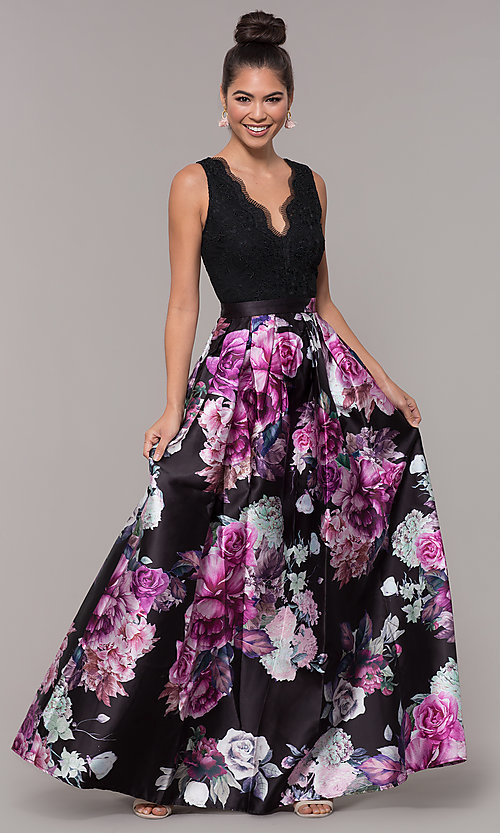 Image of long satin floral-print sheer-back prom dress. Style: SOI-M18167 Detail Image 3