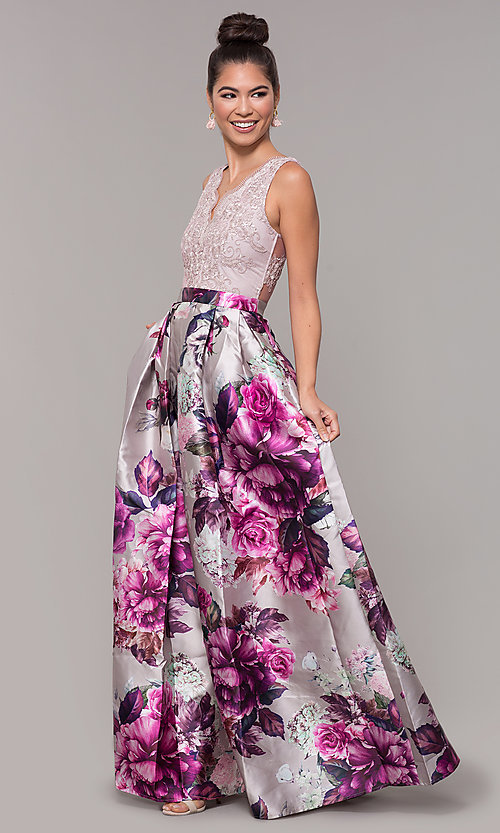 Image of long satin floral-print sheer-back prom dress. Style: SOI-M18167 Detail Image 4