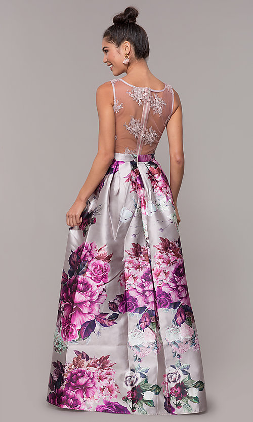 Image of long satin floral-print sheer-back prom dress. Style: SOI-M18167 Detail Image 5