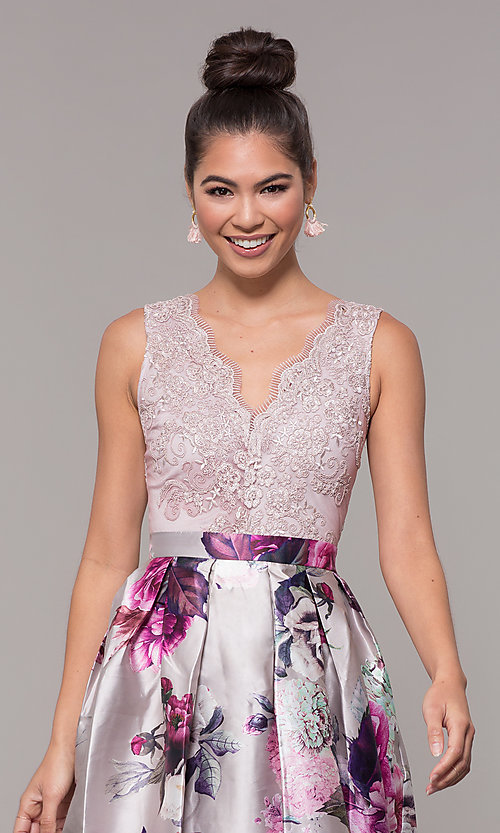 Image of long satin floral-print sheer-back prom dress. Style: SOI-M18167 Detail Image 6