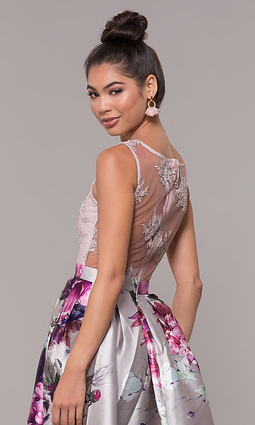 Image of long satin floral-print sheer-back prom dress. Style: SOI-M18167 Detail Image 7
