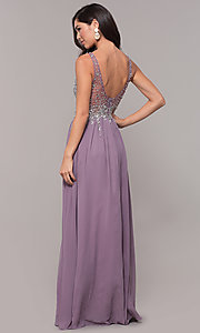 Image of embellished-bodice long prom dress with v-neckline. Style: SOI-W17852 Back Image