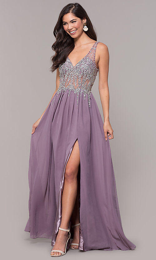 Image of embellished-bodice long prom dress with v-neckline. Style: SOI-W17852 Front Image