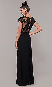 Image of long faux-wrap embroidered v-neck prom dress. Style: SOI-M18209 Detail Image 7