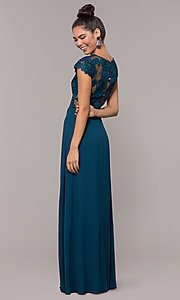 Image of long faux-wrap embroidered v-neck prom dress. Style: SOI-M18209 Detail Image 3