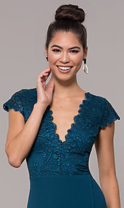 Image of long faux-wrap embroidered v-neck prom dress. Style: SOI-M18209 Detail Image 1