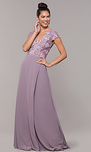 Image of long faux-wrap embroidered v-neck prom dress. Style: SOI-M18209 Front Image