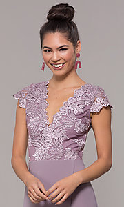 Image of long faux-wrap embroidered v-neck prom dress. Style: SOI-M18209 Detail Image 4