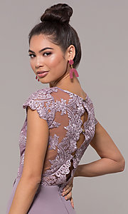 Image of long faux-wrap embroidered v-neck prom dress. Style: SOI-M18209 Detail Image 5
