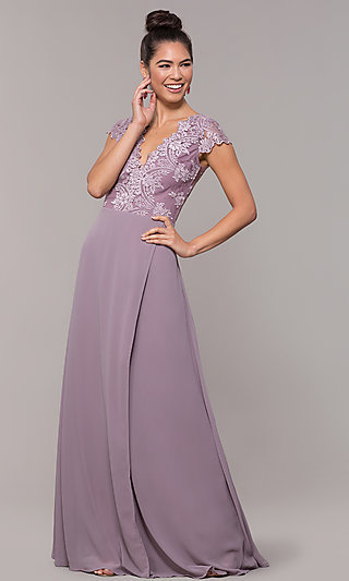 Long Faux-Wrap Embroidered V-Neck Prom Dress