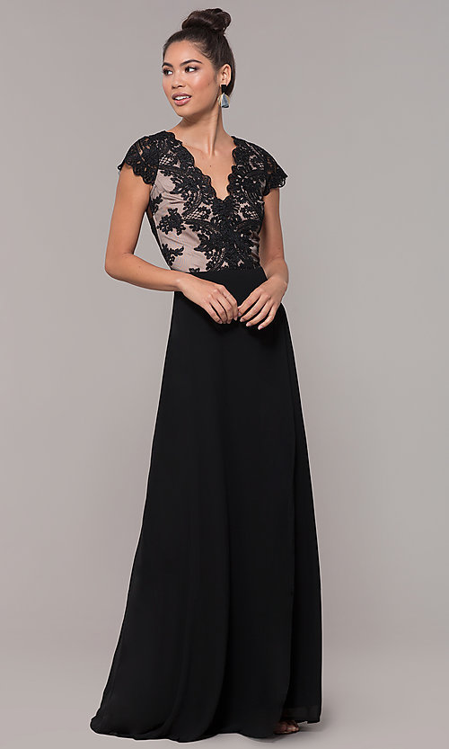 Image of long faux-wrap embroidered v-neck prom dress. Style: SOI-M18209 Detail Image 6