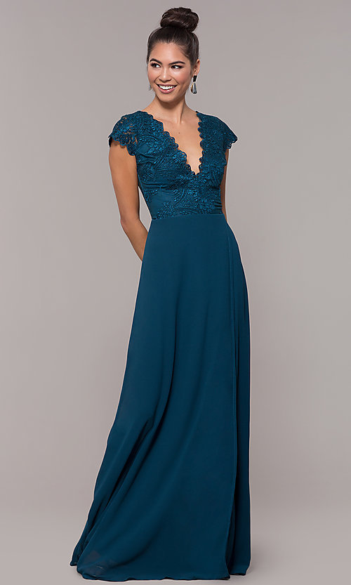 Image of long faux-wrap embroidered v-neck prom dress. Style: SOI-M18209 Back Image