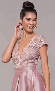 Image of long mauve prom dress with embroidered bodice. Style: SOI-M18120 Detail Image 1