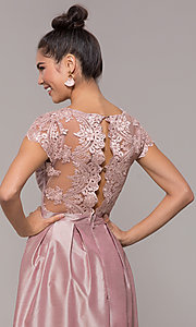 Image of long mauve prom dress with embroidered bodice. Style: SOI-M18120 Detail Image 2