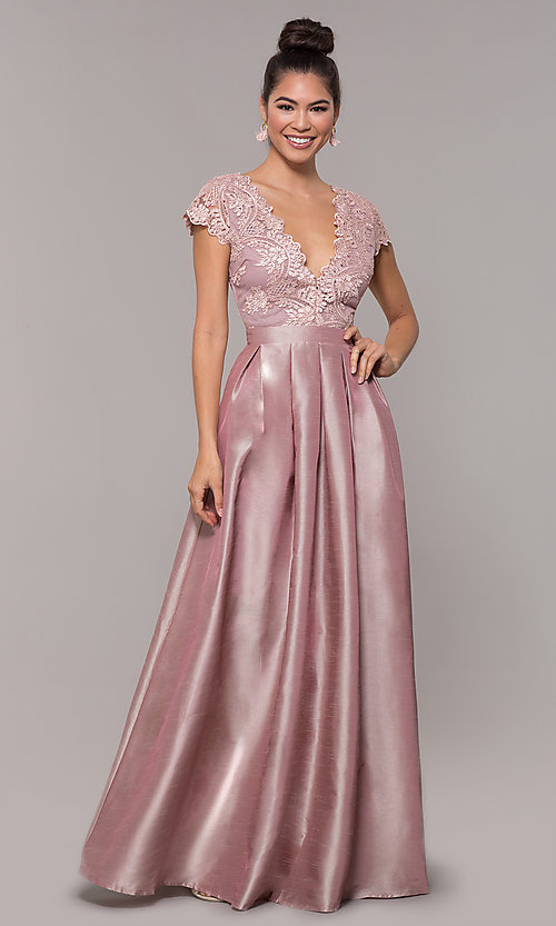 Image of long mauve prom dress with embroidered bodice. Style: SOI-M18120 Front Image