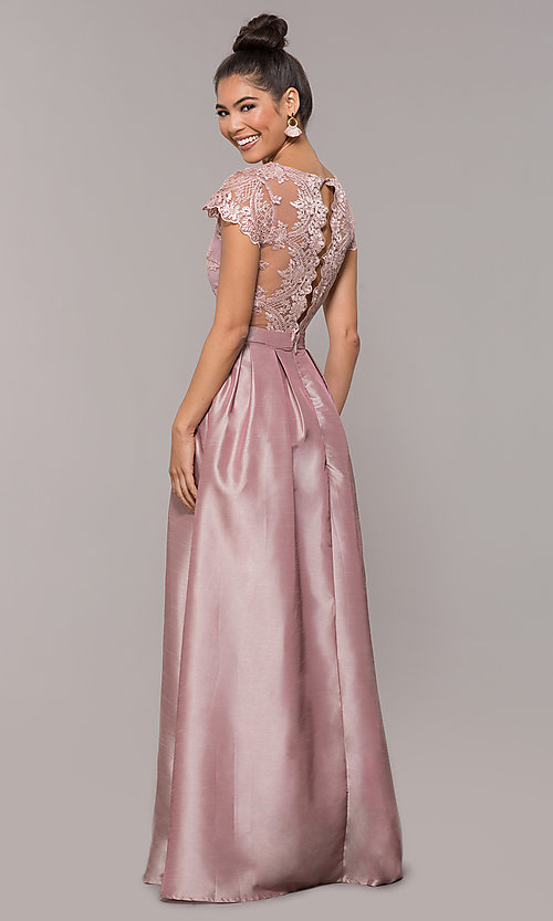 Image of long mauve prom dress with embroidered bodice. Style: SOI-M18120 Back Image