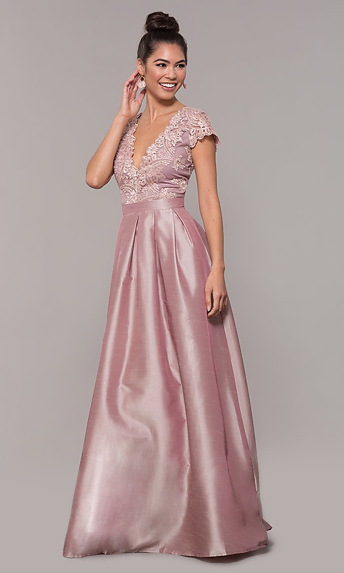 Image of long mauve prom dress with embroidered bodice. Style: SOI-M18120 Detail Image 3