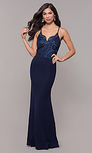 Image of long sweetheart prom dress with embroidered bodice. Style: SOI-M18076 Back Image