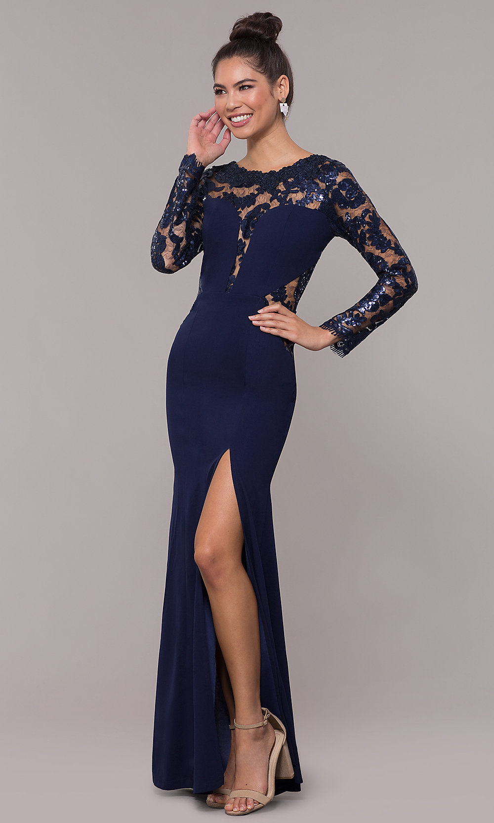 3/4-Bell-Sleeve Long Sequin-Lace MOB Dress - PromGirl