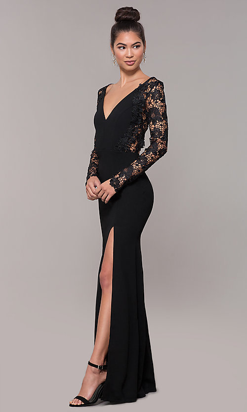 d43e6ca2264 Image of long-sleeve lace-bodice formal prom dress with slit. Style