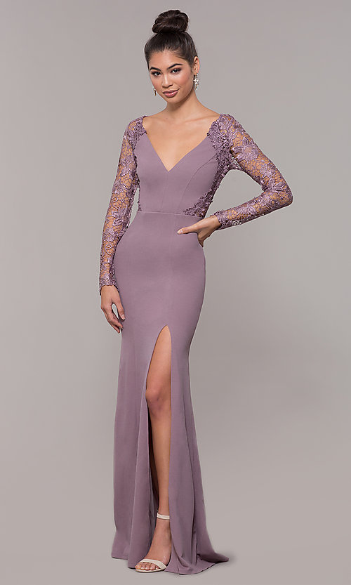 fabd6f6451561 Image of long-sleeve lace-bodice formal prom dress with slit. Style: